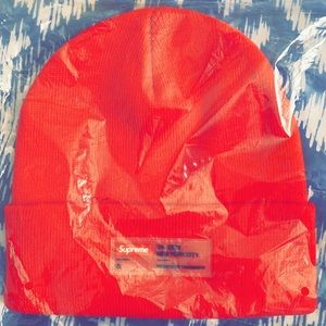 Supreme clear label red beanie